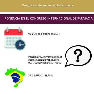 PONENCIA EN EL CONGRESO INTERNACIONAL DE FARMACIA