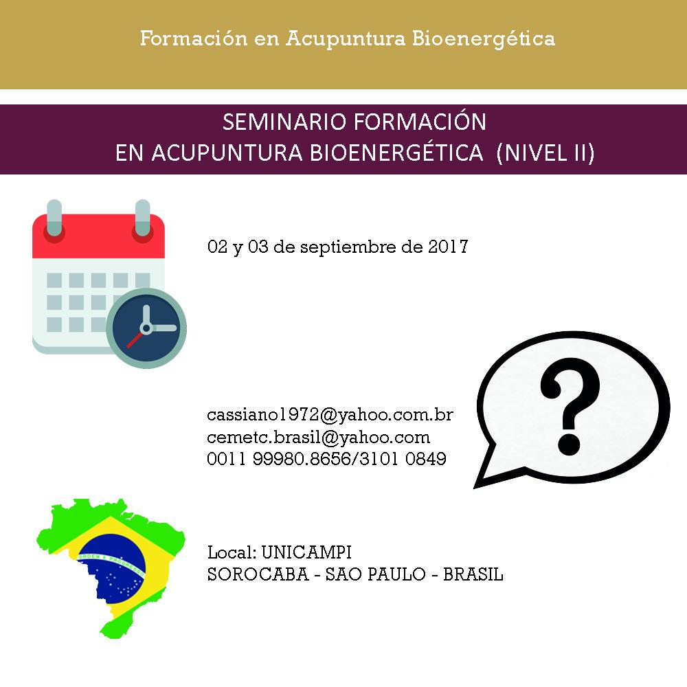SEMINARIO FORMACION EN ACUPUNTURABIOENERGÉTICA (NIVEL II) EN UNICAMPI